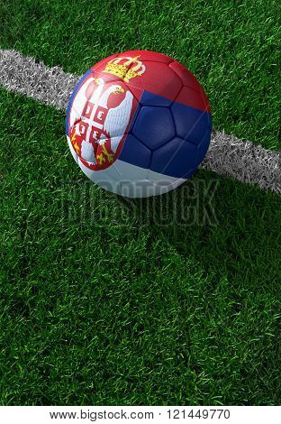 Soccer Ball And National Flag Of Serbia,  Green Grass