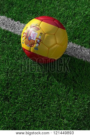 Soccer Ball And National Flag Of Spain,  Green Grass