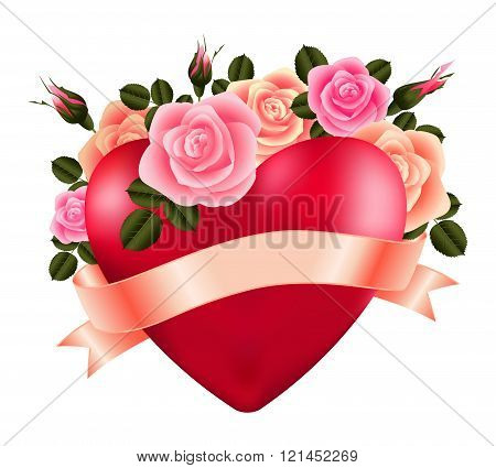 Heart With Roses And Ribbon