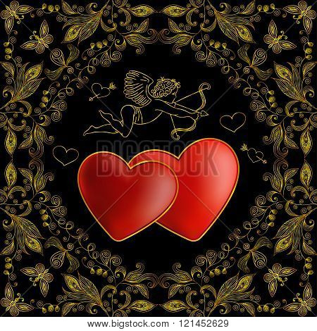 Cupid With Hearts And Floral Doodle Background