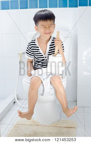 Lavatory Toilet And Boy