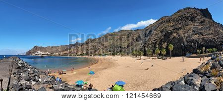 TENERIFE, SPAIN - JULY 13: Panoramic view of famous beach Playa de las Teresitas on july 13, 2014 inTenerife, Spain