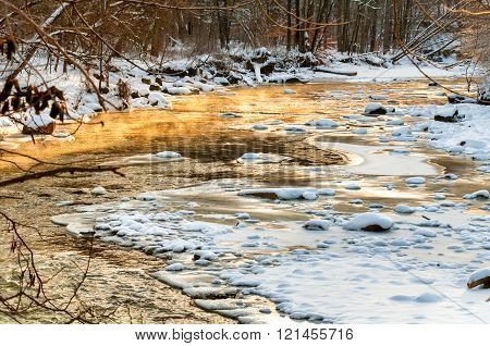 Icy golden creek
