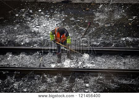 Railway Embankment, Rails And Workers
