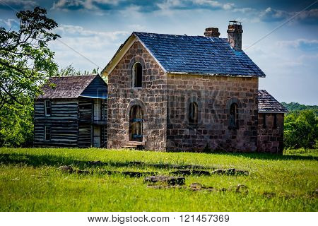 Old Abandoned Ruins of the Sacred Heart Catholic Mission in Oklahoma. Established 1879.