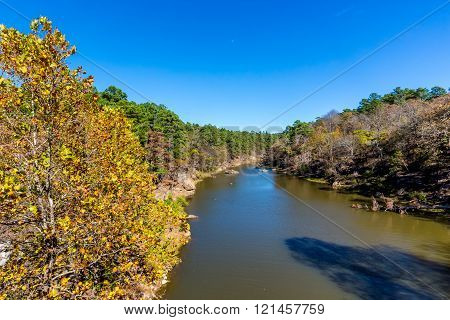 A Tranquil Autumn Outdoor View of Ash Creek at Robbers Cave State Park in Oklahoma. ** Note: Visible grain at 100%, best at smaller sizes