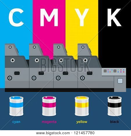 Offset machine. Color paint for print. Cyan magenta yellow black colors. Press equipment with colors paint cans and text template. Vector printing design with text and color. Info graphics elements. Label details.