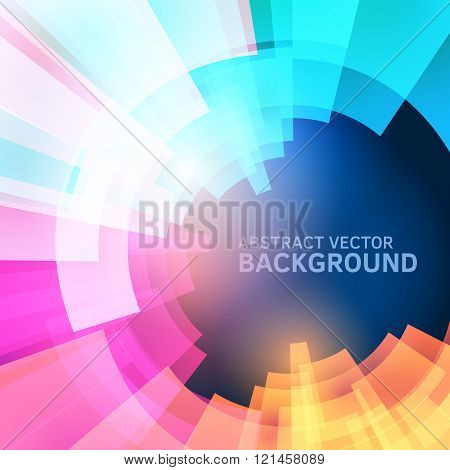Techno vector pattern. Abstract future background. Decoration with electric light. Future presentation concept. Vibrant illustration. Presentation template with sample text. Circle graphic element.