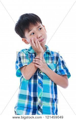 Asian Handsome Boy Is Having Toothache. Isolated On White Background.