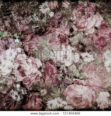 Fragment of colorful retro tapestry text, Fragment of colorful retro tapestry textile pattern with floral ornament useful as background