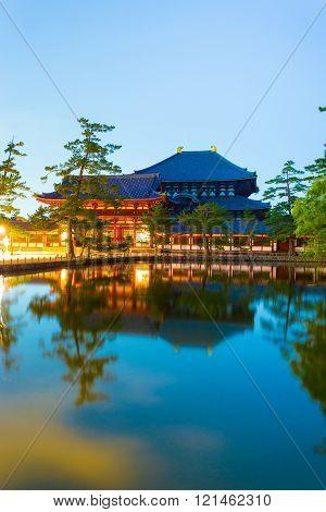 Daibutsuden Night Long Exposure Lake Reflection