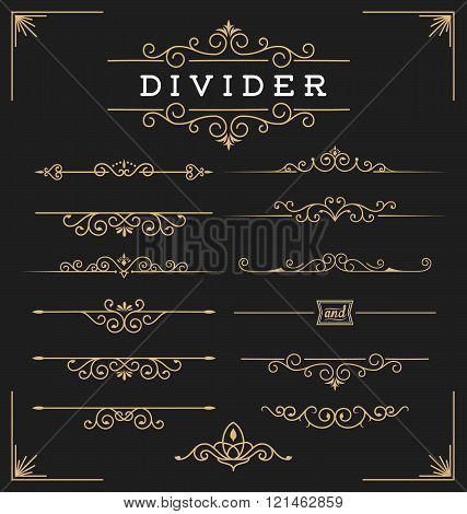 Set of horizontal flourishes divider decorative