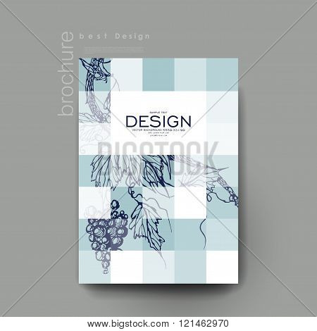 grapes ornament vector brochure template. Flyer Layout