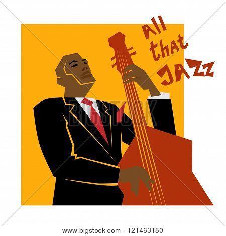 Retro  jazz music concept, double bass man