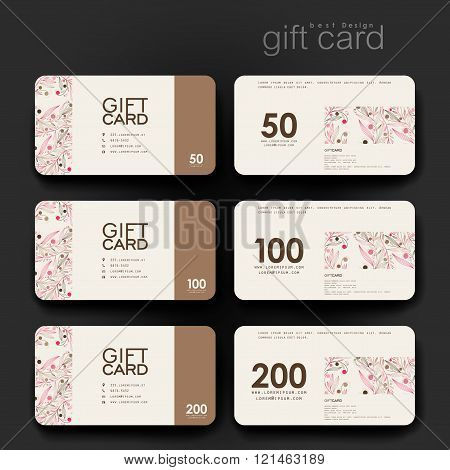 Gift coupon, discount card template with  floral abstract background