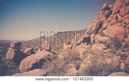 Scottsdale, Arizona, desert red rock buttes landscape.  Image cross processed. poster