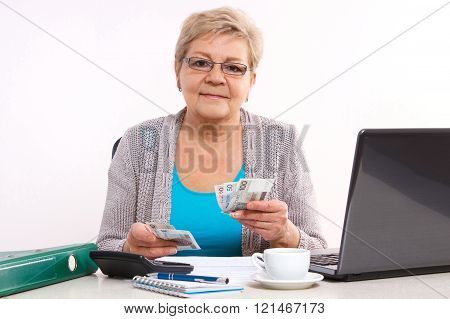 Elderly senior woman counting cash for utility bills at her home, financial security in old age