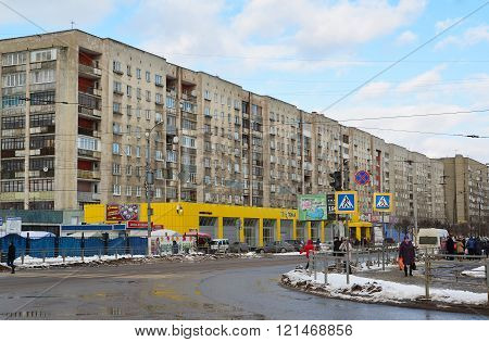 Tver, Russia - February 27. 2016.  View Tchaikovsky street in the city center