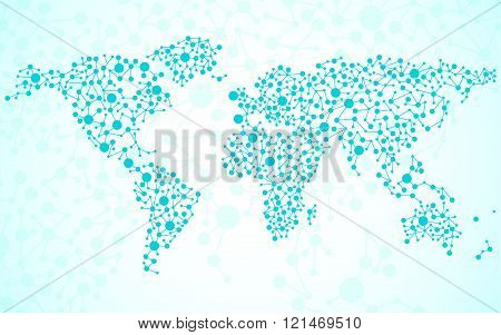 Abstract world map. Molecule structure. Colorful background
