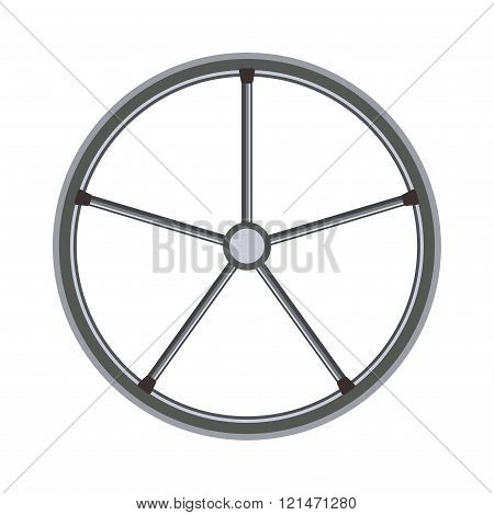 Yacht or sheep wheel rudder flat style vector illustration isolated on white background