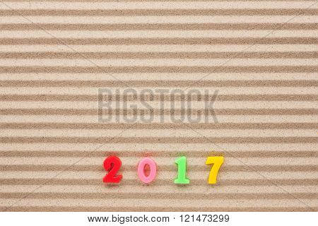 New Year 2017 Written In The Sand
