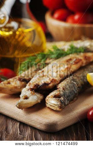 Russian Fish Smelt On The Wooden Table