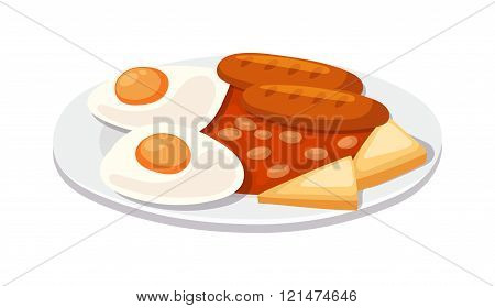 Breakfast with scrambled eggs and toasts, sausage isolated on white background vector.