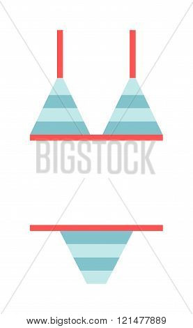 Flat swimsuit isolated illustration.