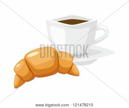 French breakfast, croissant vector food with cup of hot coffee.