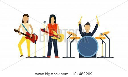 Music band with instruments vector illustration.