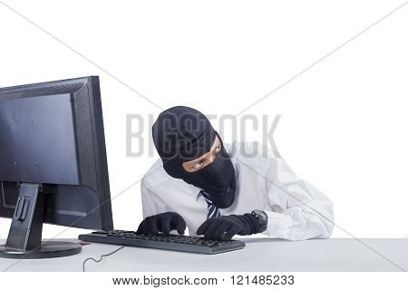 Robber With Mask Hacking A Computer
