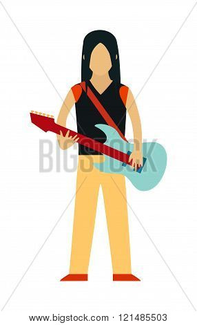 Rock Star cartoon characters with guitar isolated on white background.
