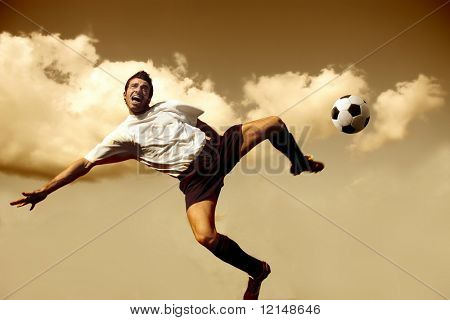 soccer player in acrobatic