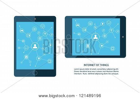 Internet of things concept. Mobile tablet and smart home devices icons.