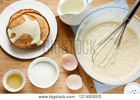 Prepared Pancakes For Breakfast. Ingredients For Making Pancakes, Dough And Fried Pancakes