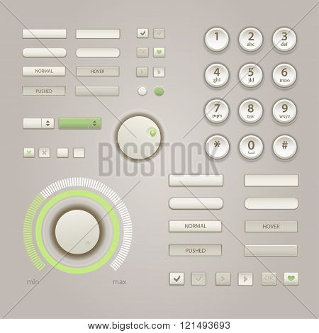 User Interface Elements: Buttons, Switchers, On, Off, Player, Audio, Video, Keypad For Phone. Vector