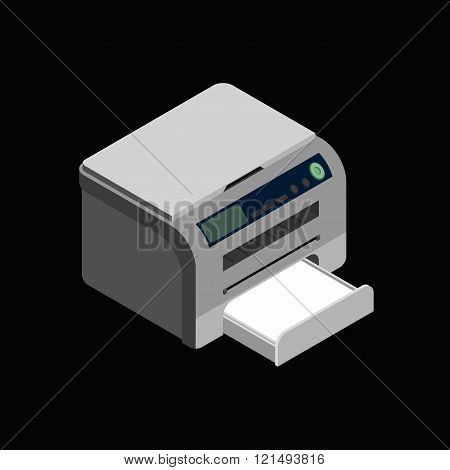 Isometric vector laser printer icon. Digital machine illustration . Modern grey office printer on dark background