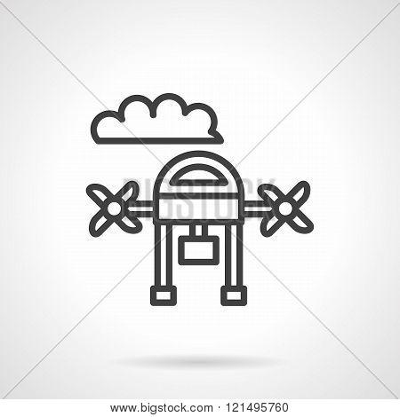 Aerial survey black line design vector icon