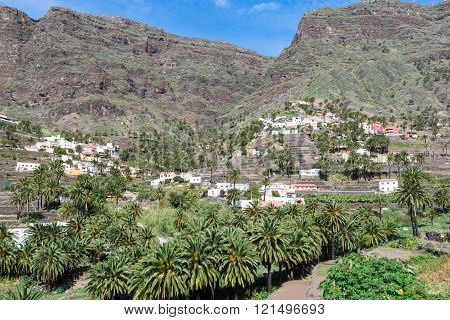 Villages and small towns in the Valle Gran Rey on la Gomera. Terraced fields and date palms is a typical landscape for the Valle Gran Rey, the beautiful canyon on the Canary island La Gomera. The terraces are still used for agriculture