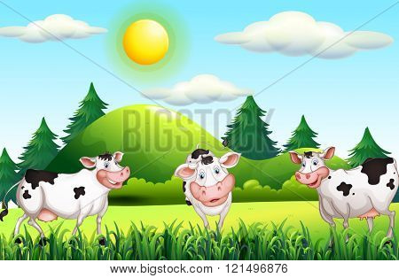Thee cows standing in the farmyard illustration