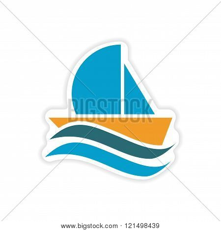 paper sticker sailing ship on white background