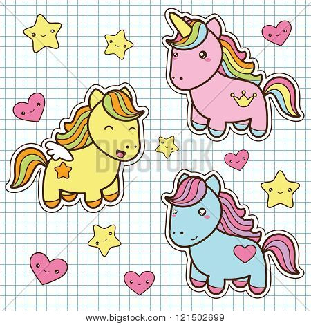 Set collection of cute kawaii style horses.