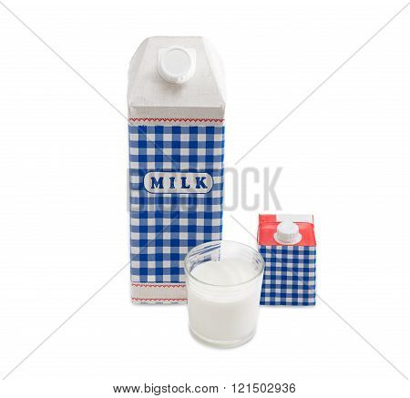 Plastic coated paper carton with pasteurized cows milk a small carton with cream and a glass of milk on a light background poster