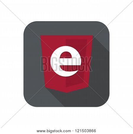 vector web development shield sign - programming language letter e. isolated