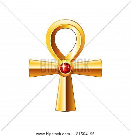 Egyptian Cross Ankh Isolated On White Vector