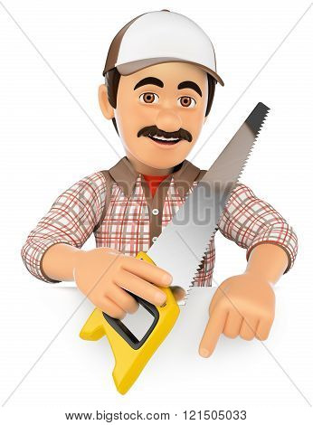 3D Carpenter With Saw Pointing Down. Blank Space