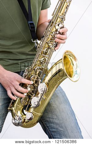 Jazz Saxophone Player Playing A Solo