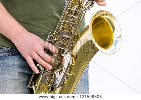 Jazzman Is Playing His Saxophone
