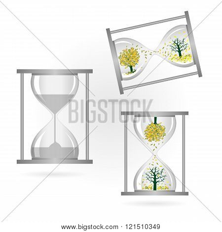 Tree And Sand Glass On White Background,green Concept,green Ideas,hourglass,sand Glass.