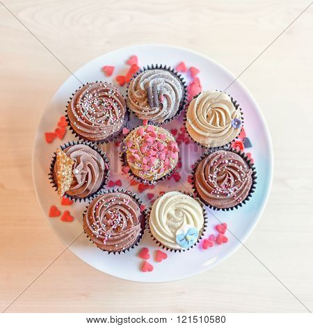 Sweet Cupcakes With Little Heart Candies